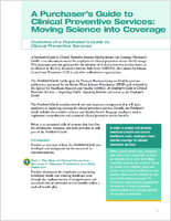 A Purchaser's guide to clinical preventive services; moving science into coverage