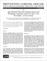 Age-Related Macular Degeneration and Smoking Cessation Advice by Eye Care Providers: A Pilot Study