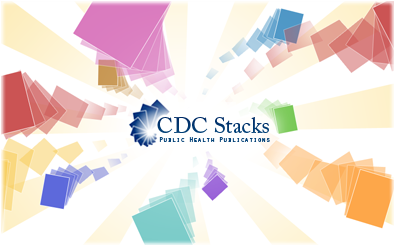 CDC Stacks logo surrounded by books and documents