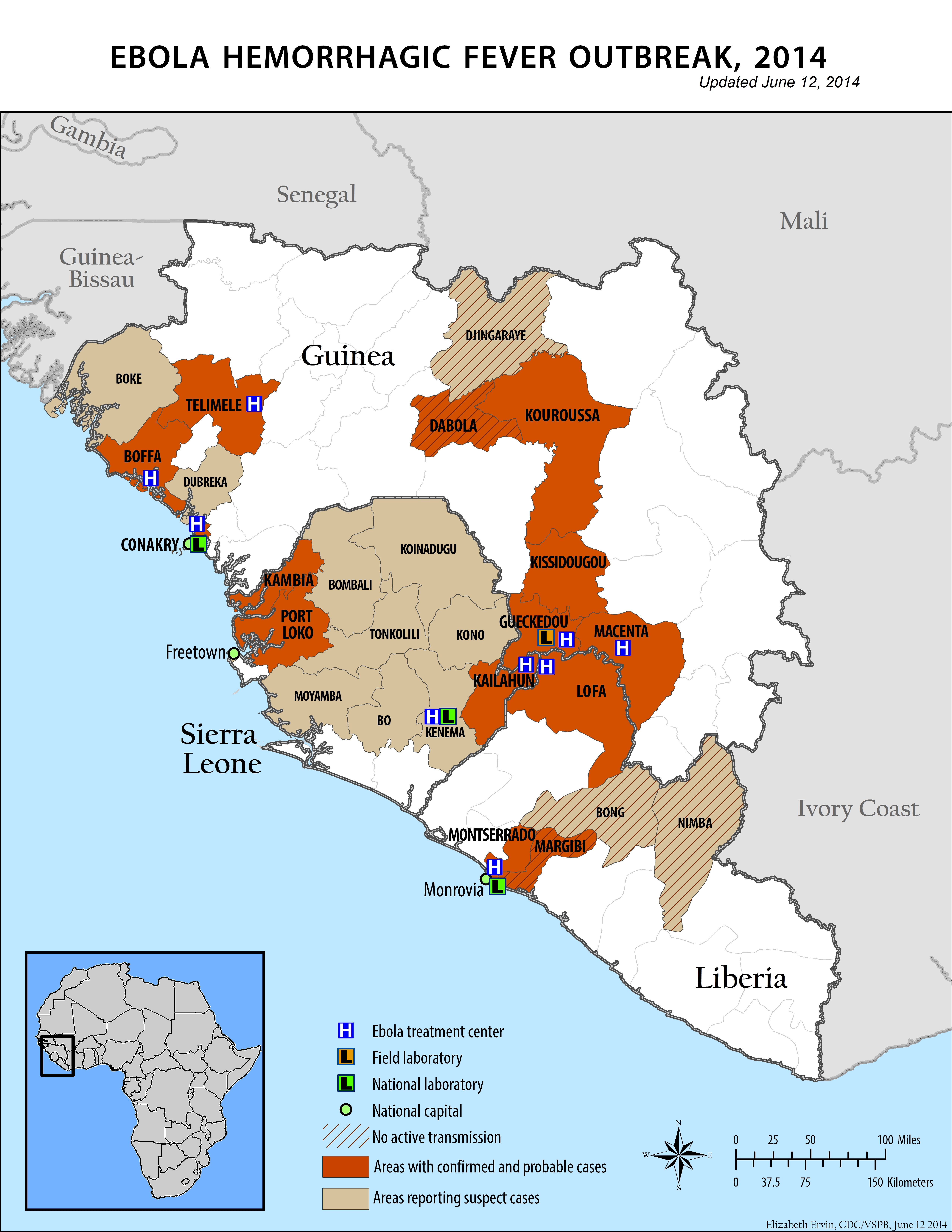 Ebola hemorrhagic fever outbreak, 2014 : updated June 12, 2014