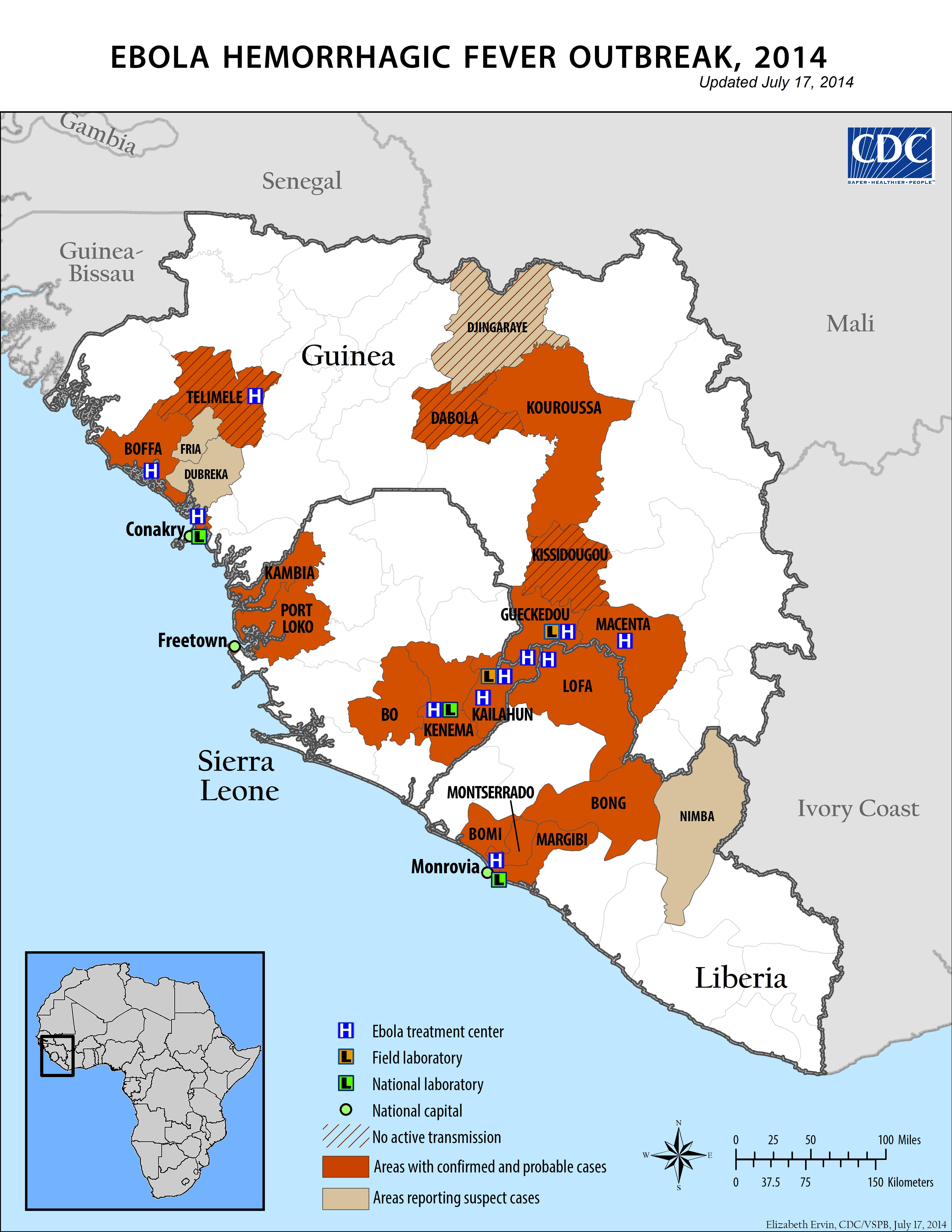 Ebola hemorrhagic fever outbreak, 2014 : updated July 17, 2014