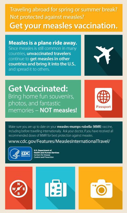 Traveling abroad for spring or summer break? Not protected against measles? Get your measles vaccination.