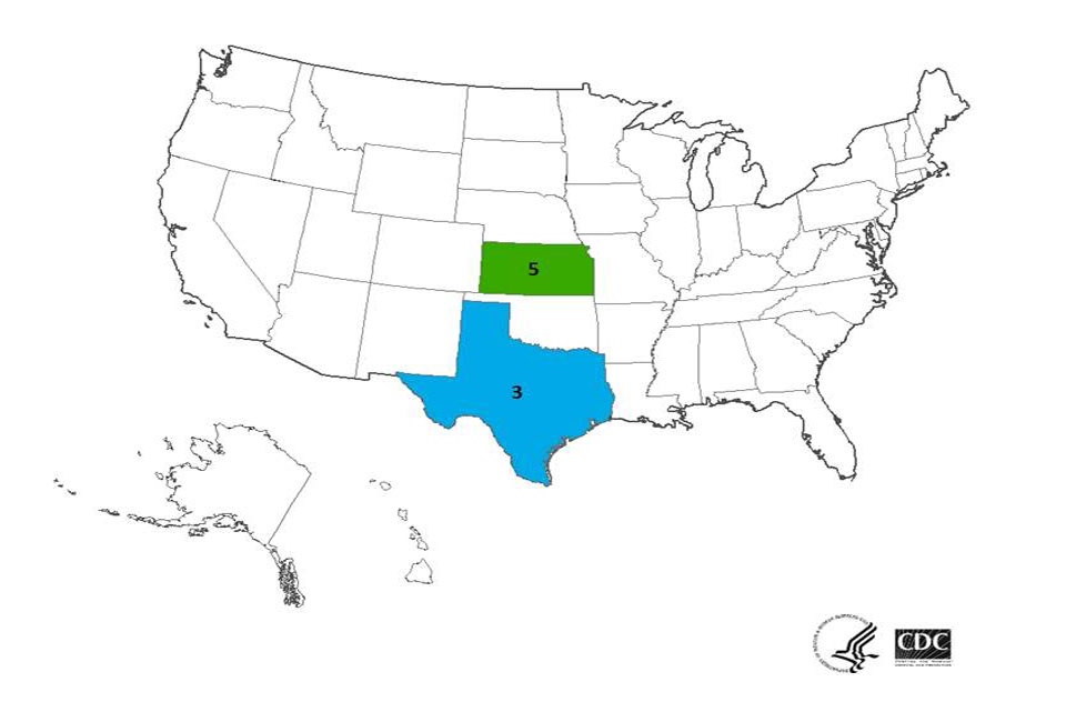 Multistate outbreak of Listeriosis linked to Blue Bell Creameries Ice Cream products case count map : April 8, 2015