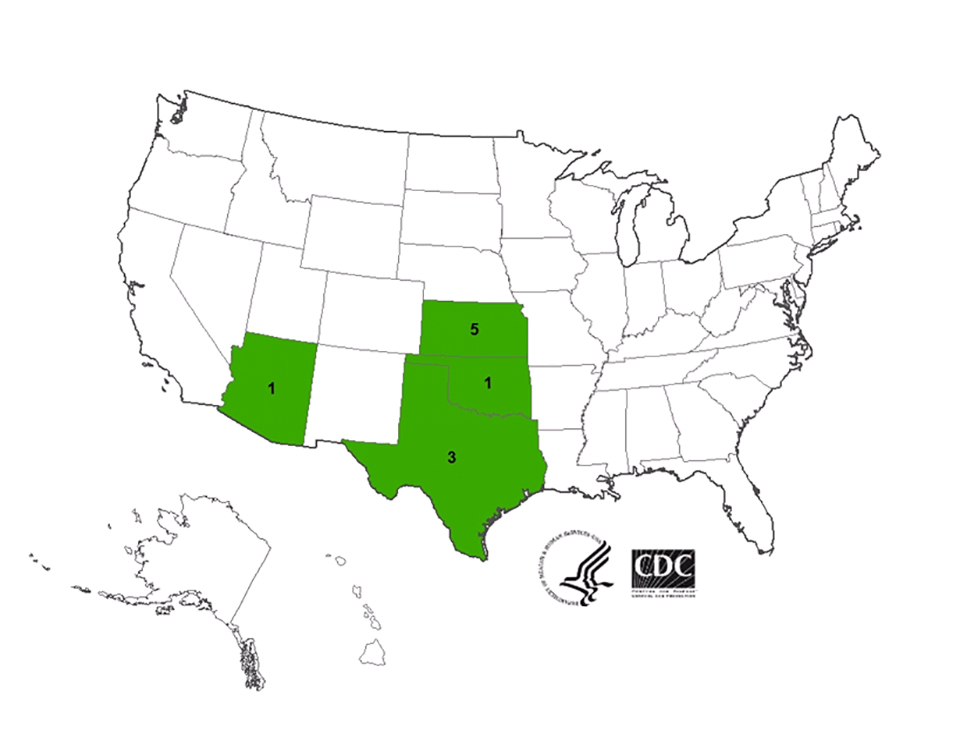 Multistate outbreak of Listeriosis linked to Blue Bell Creameries products (final update) : final case count map