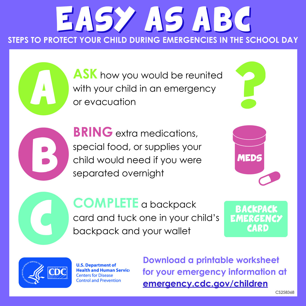 Easy as ABC : three steps to protect your child during emergencies in the school day