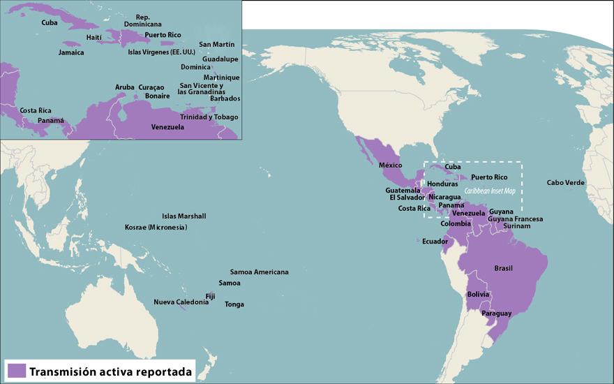 Todos los países y territorios con transmisión activa del virus del Zika