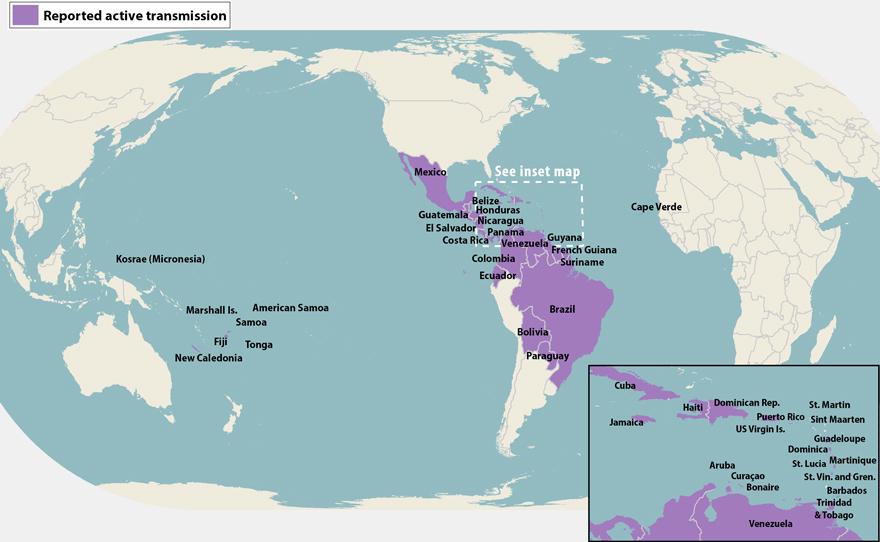 Todos los países y territorios con transmisión activa del virus del Zika (desde el 18 de abril de 2016)
