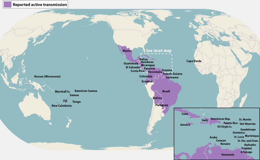 All countries and territories with active Zika virus transmission (as of April 18, 2016)