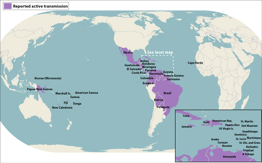 All countries and territories with active Zika virus transmission (as of April 29, 2016)