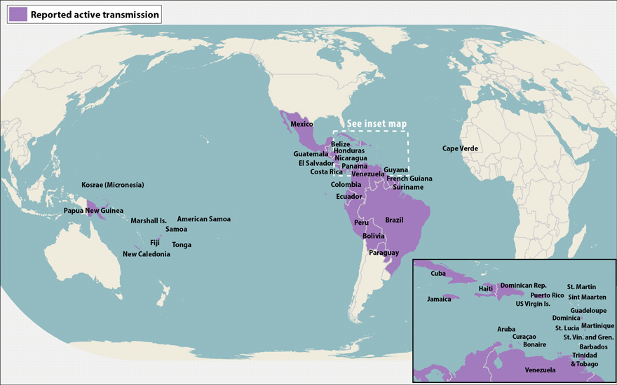 All countries and territories with active Zika virus transmission (as of May 5, 2016)