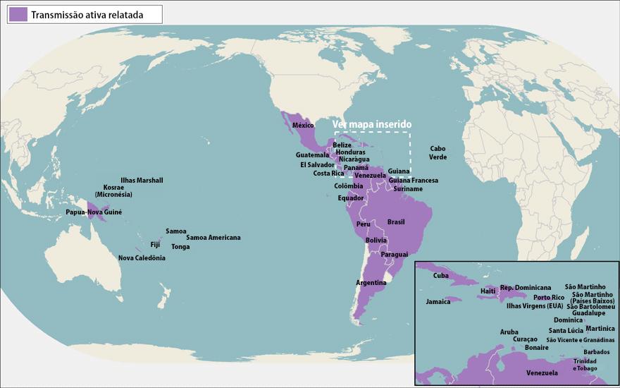 Todos os países e territórios com transmissão ativa do zika vírus em 26 de maio de 2016