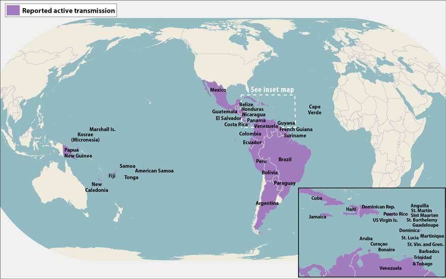 All countries & territories with active Zika virus transmission as of June 30, 2016