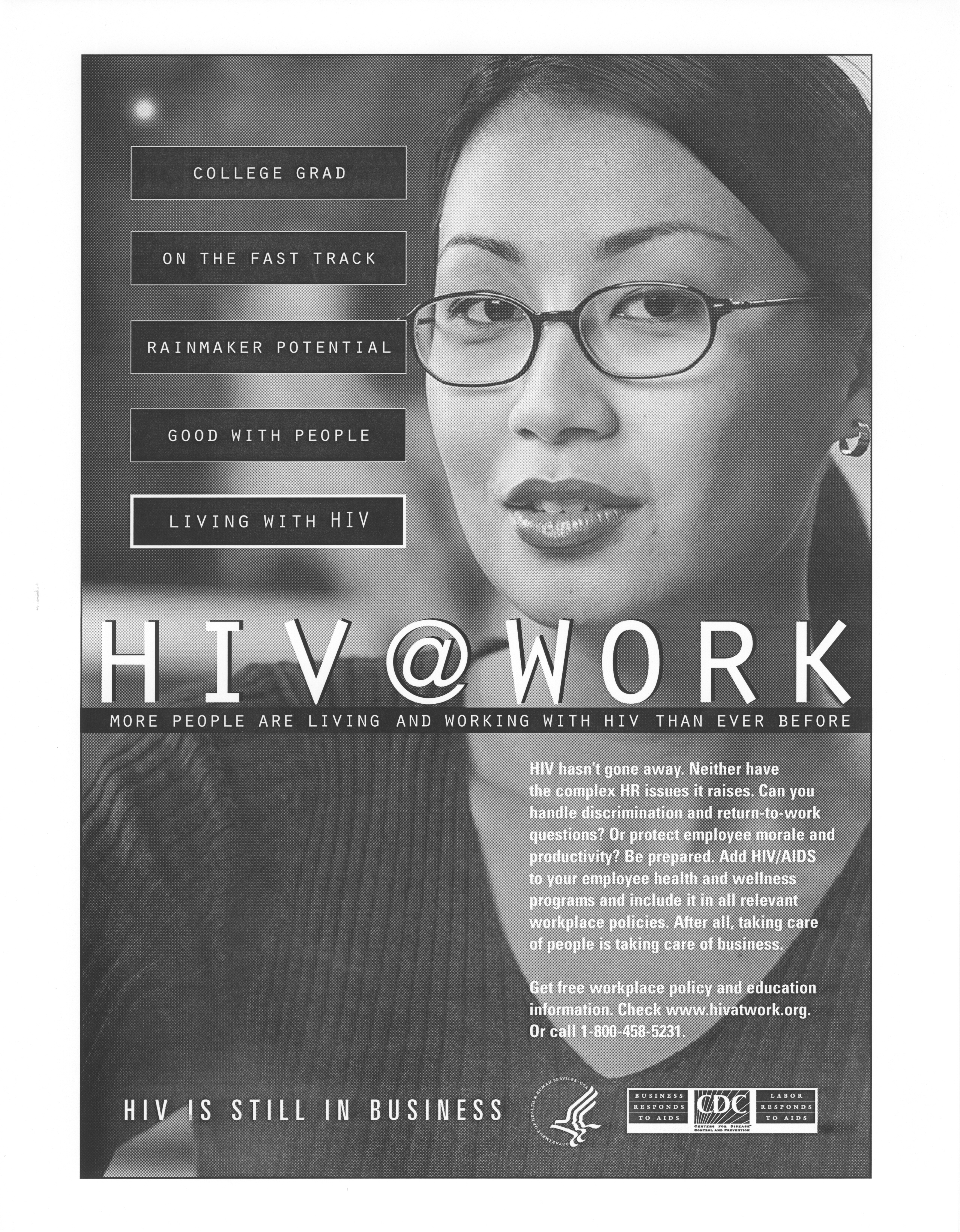 College grad on the fast track. Rainmaker potential. Good with people. Living with HIV. HIV@Work