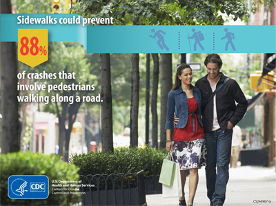 Sidewalks could prevent crashes that involve pedestrians walking along a road