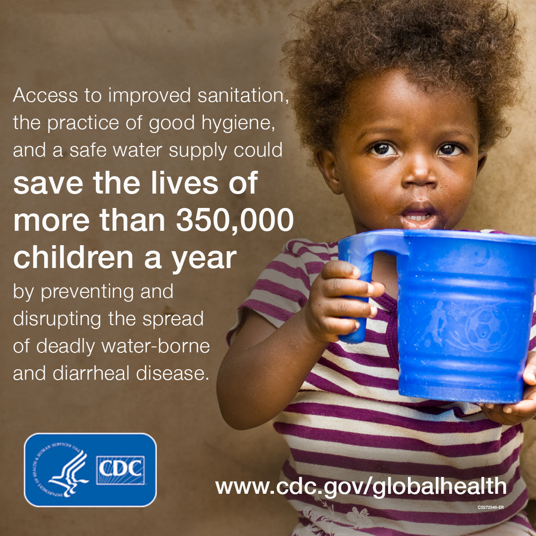 Access to improved sanidation, the practice of good hygiene, and a safe water supply could save the lives of more than 350,000 childen a year