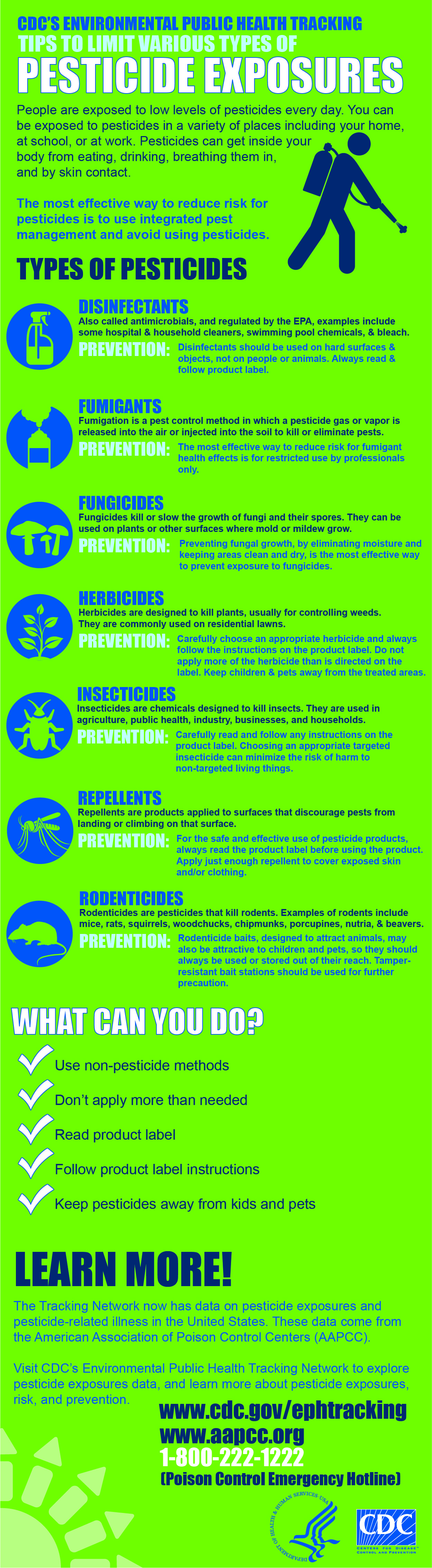 CDC's Environmental Public Health Tracking tips to limit various types of pesticide exposures