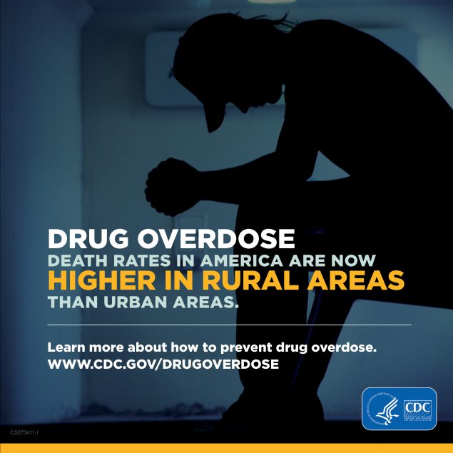 Drug overdose death rates in America are now higher in rural areas than urban areas
