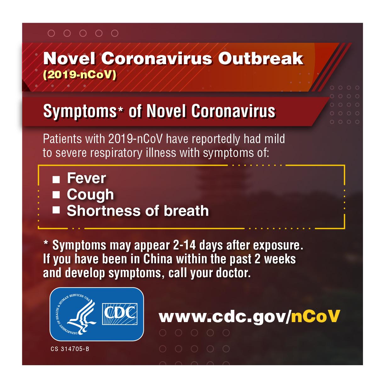 Novel coronavirus outbreak (2019-nCoV) symptoms of novel coronavirus