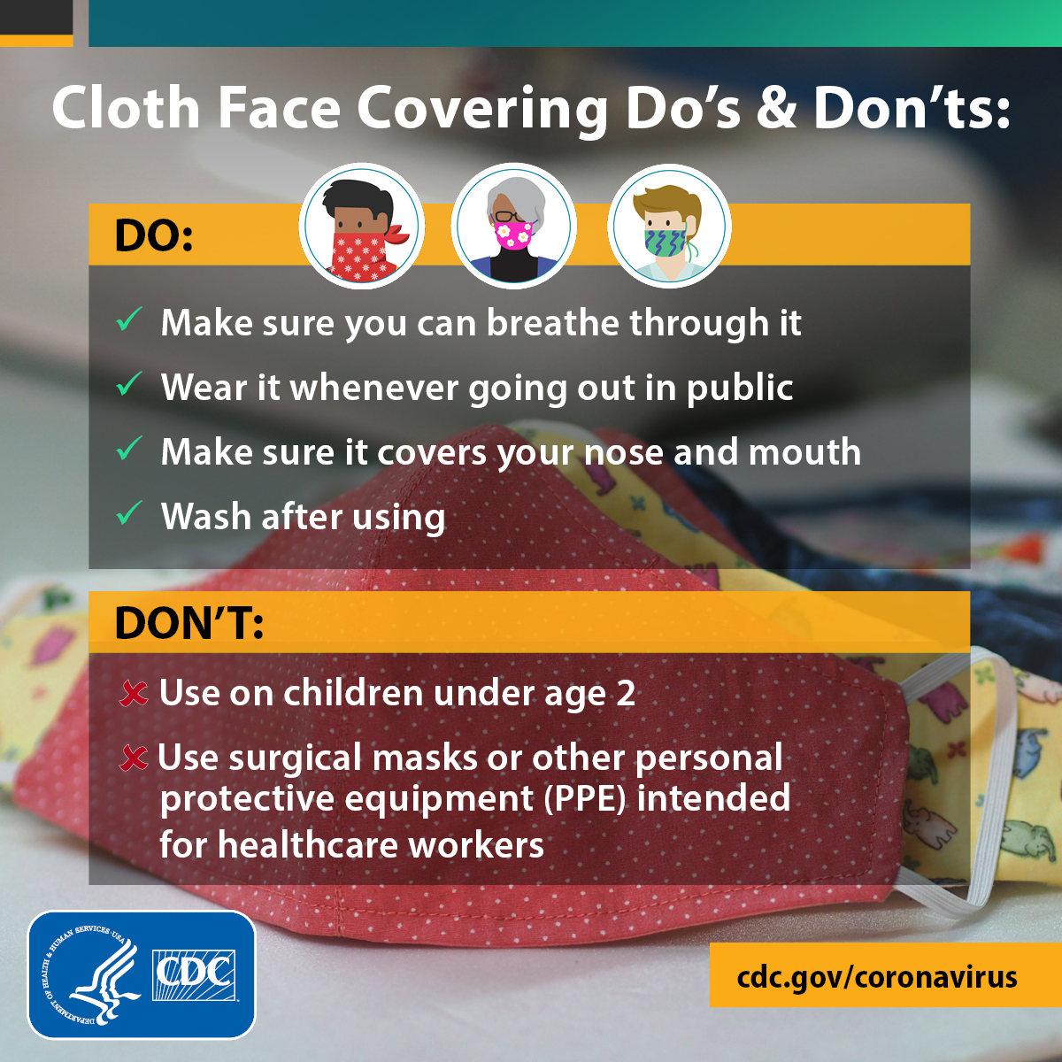 Cloth face coverings : do's & don'ts