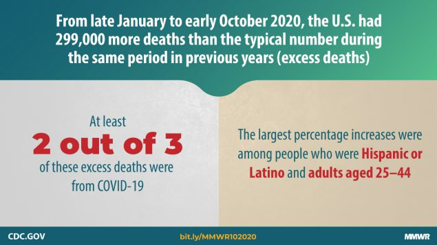 From late January to early October 2020, the U.S. had 299,000 more deaths than the typical number during the same period in previous years (excess deaths)